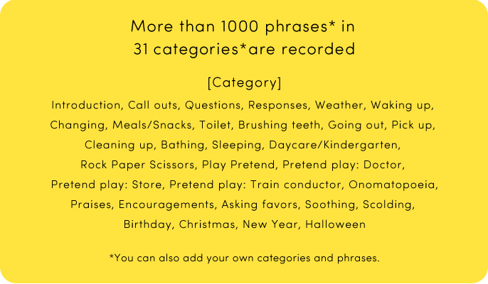 More than 1000 phrases* in 31 categories*are recorded